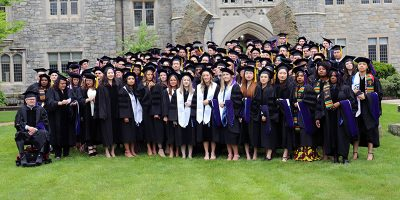 UConn Law graduates gathered in quad for class photo
