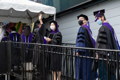 graduates in line at 2021 commencement ceremony
